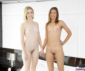 Naked teens Chloe Couture & Shyla Ryder share a large dick during a threesome