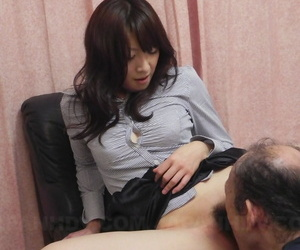 Japanese handsomeness Miku Sachi has her trimmed bush and feet ruptured overwrought a white mendicant