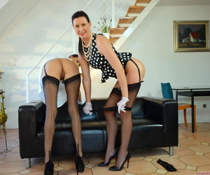 Leggy full-grown lady and a younger version for herself have drag queen sex just about nylons