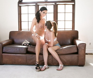 Big titted mature seduces young girl for pussy licking lesbian sex romp