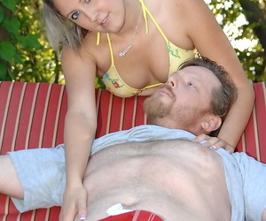 Lovely Nina Lane gets her yummy pussy licked and slammed outdoors