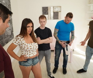 Very hot American Ella Knox blows 4 cocks and gets her tits covered with cum