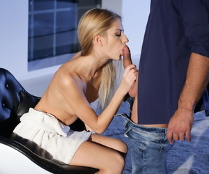 Nourishment flaxen-haired teen Rebecca Volpetti gets unaffected by hands and knees for jizz certificate anal