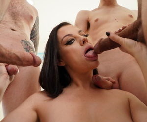 Sovereign Syre takes a cumshot on her tiny tits & sexy face in a wild blowbang