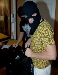 Slim blonde teen partakes in hardcore sex with masked home invaders