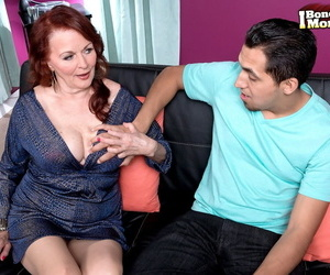 Brazen mature Katherine Merlot frees her natural big tits for fuck & facial