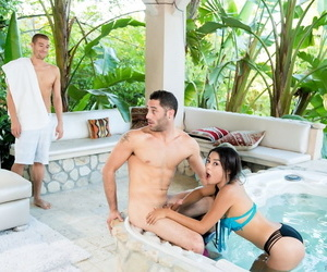 Beautiful young Maya Dijou gets facial immigrant step bro & pal approximately poolside 3some