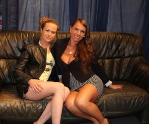 Two German lesbians suck on Ben Wa balls while man friends watch