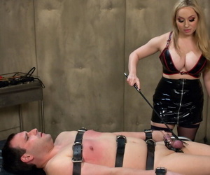 Busty mistress Aiden Starr tortures booked roughly males load of shit plus whips his pain in the neck
