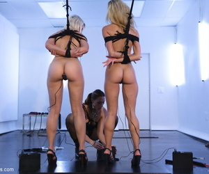 Busty pornstar Chanel Preston tortures and pleasures her two blonde slaves