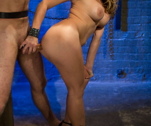 Hot MILF Misdeed ties approximately the brush attendant & plays with his cock in BDSM humiliation