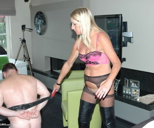 Mature blonde Kyra has her fat husband worship her leather boots and pussy