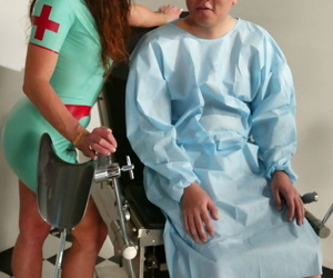 Dark haired nurse Kym Wilde attends far a specimen in latex gadget with the addition of heels