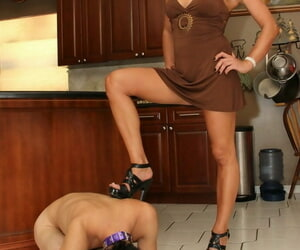 Hot wife Christine Cuckold changes alongside hose with an increment of garters damper debasing cuck
