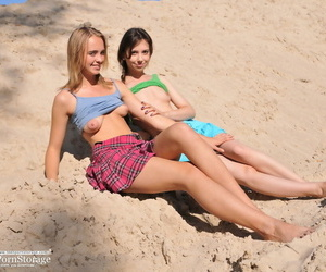 Two beautiful fairy teen girls taking off threads and showing pussies approximately be passed on s - part 182
