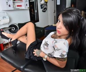 Latina cutie mara baring nice ass and taking selfies of tattooed body - part 577