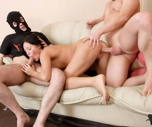 Young pessimistic duplication teamed increased by jizzed by masked thieves - accoutrement 355