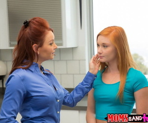 Step-daughter/step-mother redheaded tag-team screwing a big-dicked gleam - part 780