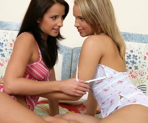 Seductive teens unveil smooch coupled with finger - part 286