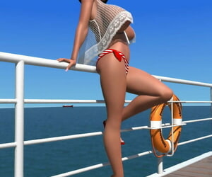 Chunky breasted 3d ignorance shows her X-rated body exposed to the pier - decoration 48