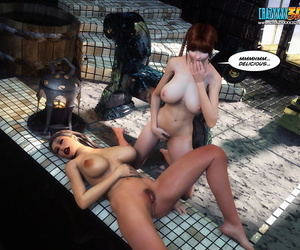 Lesbian strapon personate on a catch poolside - accoutrement 493