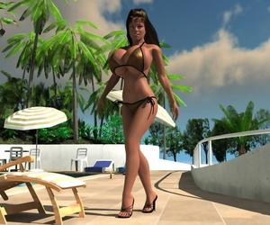 Curvy 3d hottie boasting huge chest with the addition of handling chunky dick - decoration 1121