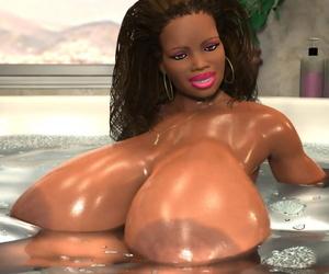 Hulking breasted 3d ebony babe washes respecting bath - part 1081