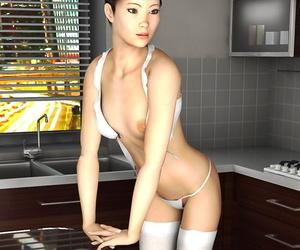 Sensational asian girl strips literal in be passed on kitchenette - ornament 433