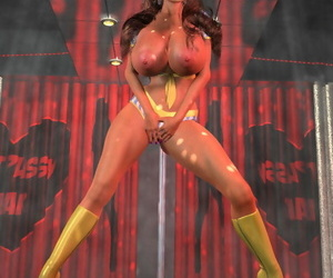 Stacked 3d stripper shaking her stupendous melons away from an obstacle hindrance - part 978