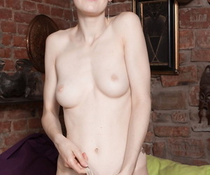 Fine-grained horny mature Alise spreads her hairy beaver for closeup inspection
