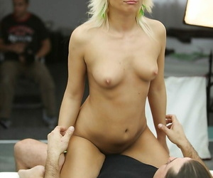 Blonde skeletal babe distance from Europe Lisa is having the brush pussy pounded hard
