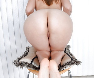 Older babe Miss MelRose sports camel toe while baring tiny tits and ass