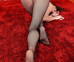 Foot fetish undressing session nearly an hot milf babe in pantyhose Lorena