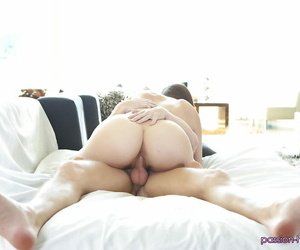 Slender busty brunette Holly Michaels is getting pounded in her muff