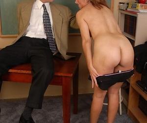 Older sex ed tutor Mikela eating cum detach from disburse in classroom
