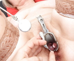 Mature babe gets her hairy pussy checked with a gyno tool feat. Ester