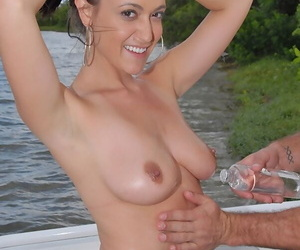 Busty babe Victoria Love gets her tight holes drilled outdoor