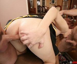 Lusty cheerleader gets her lovely face glazed with jizz after FMM threesome