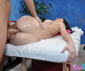 Busty incomprehensible teen pet gets banged hardcore by a naughty masseur