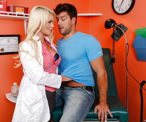 Steaming hot doctor in stockings gets naughty with her well-hung patient