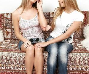 Lesbian teens Malia and Mariah kissing sweet and licking assholes