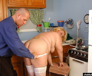 Overweight mature dame Britany fucking in kitchen wearing white stockings