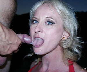 Voluptuous matured blonde gets her asshole fingered plus drilled outdoor