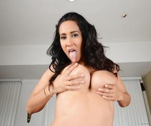 Latina MILF Isis Love pulling short denim shorts up ass crack