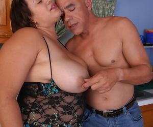 Older BBW Monet having huge breast and nipples shattered in kitchenette