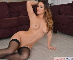 Sultry Asian siren Eva Lovia poses in nylon stockings and strokes her cunt
