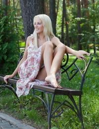 Hot blonde Alysha doffs her dress in the fountain to wet her slender teen body