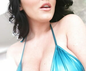 Pitch-dark babe give tiny bikini Sophie Dee uncovering their way big tits