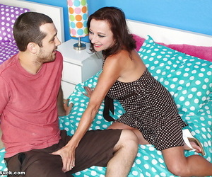 Saucy mature brunette gives head and gets jizzed over her big tits