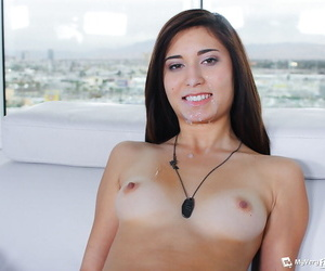 Nerdy girlfriend Kimberly Costa sucks boyfriends POV dick and swallows cum